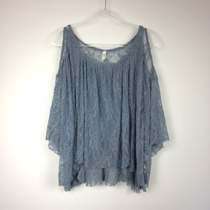 Free People Dusty Blue Lace Cold Shoulder Top
